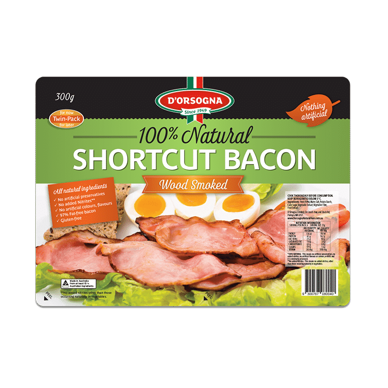 100% Natural Shortcut Bacon 300g