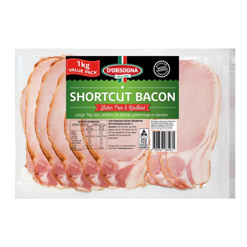 Shortcut Rindless Bacon 1KG