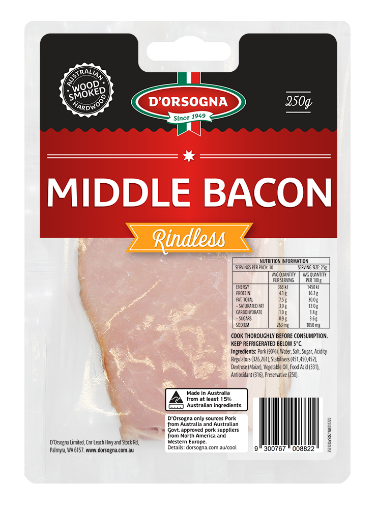 Middle Bacon Rindless 250g