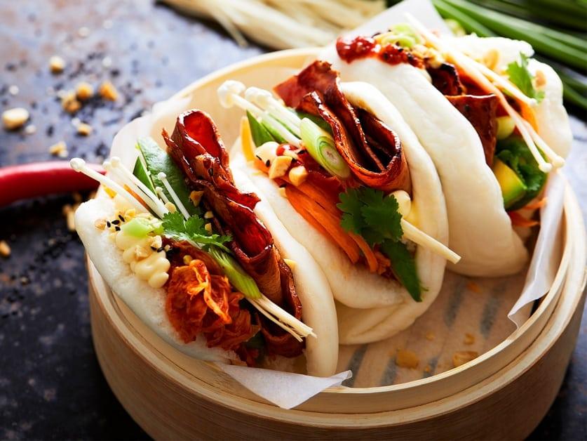 Bacon, Avocado and Kimchi Bao Buns