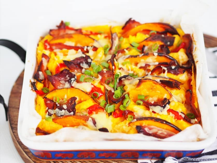 Baked Polenta With Bacon, Pumpkin And Capsicum