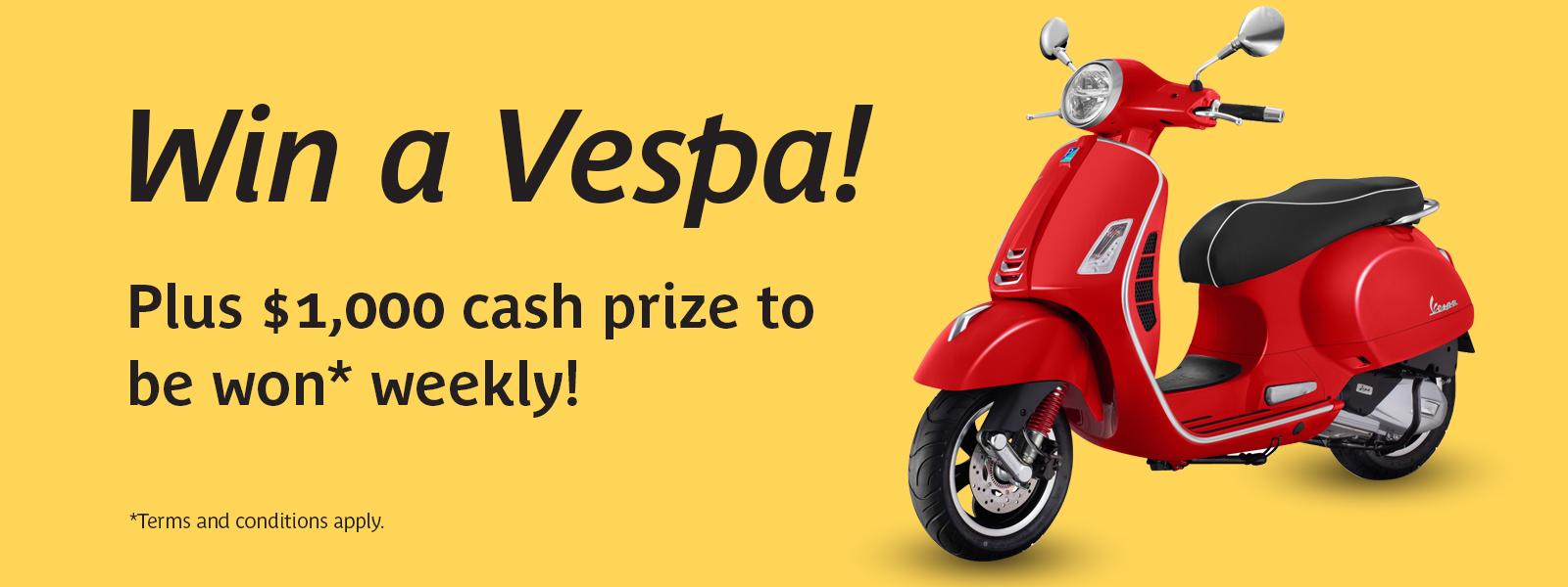 Win a Vespa Competition Banner
