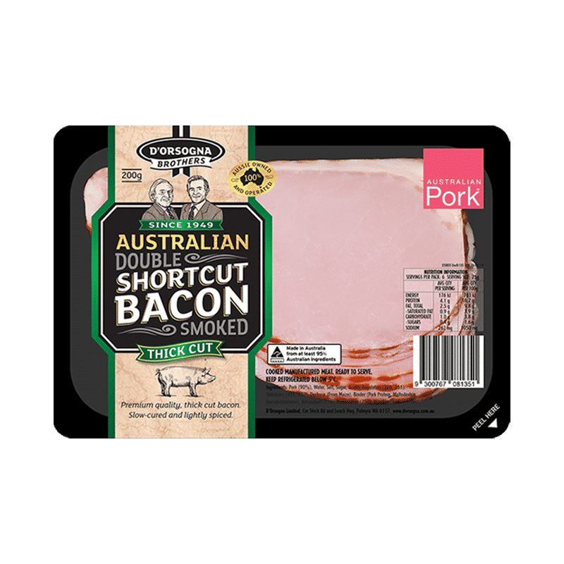 D'Orsogna Brothers Aus Double Smoked Shortcut Bacon 200g
