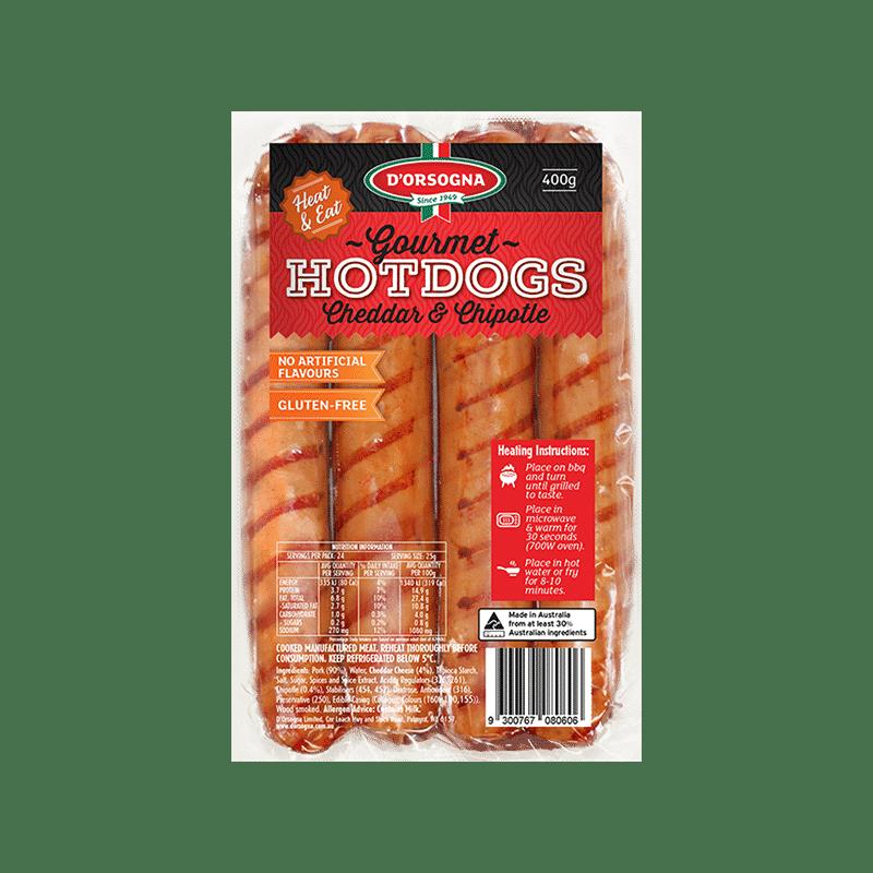Gourmet Hotdogs Cheddar & Chipotle 400g