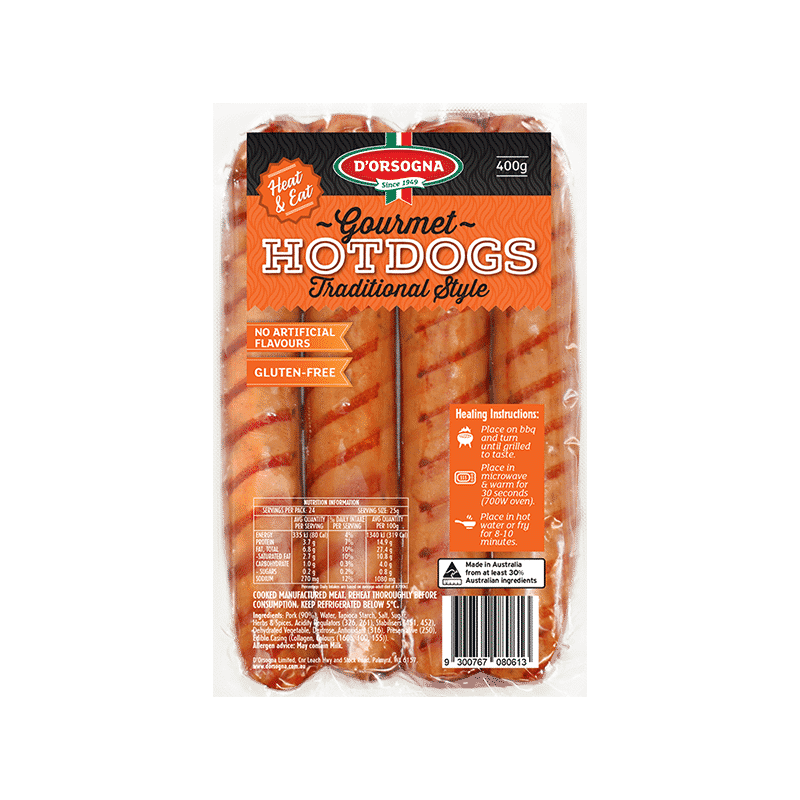 Gourmet Hotdogs Traditional style 400g