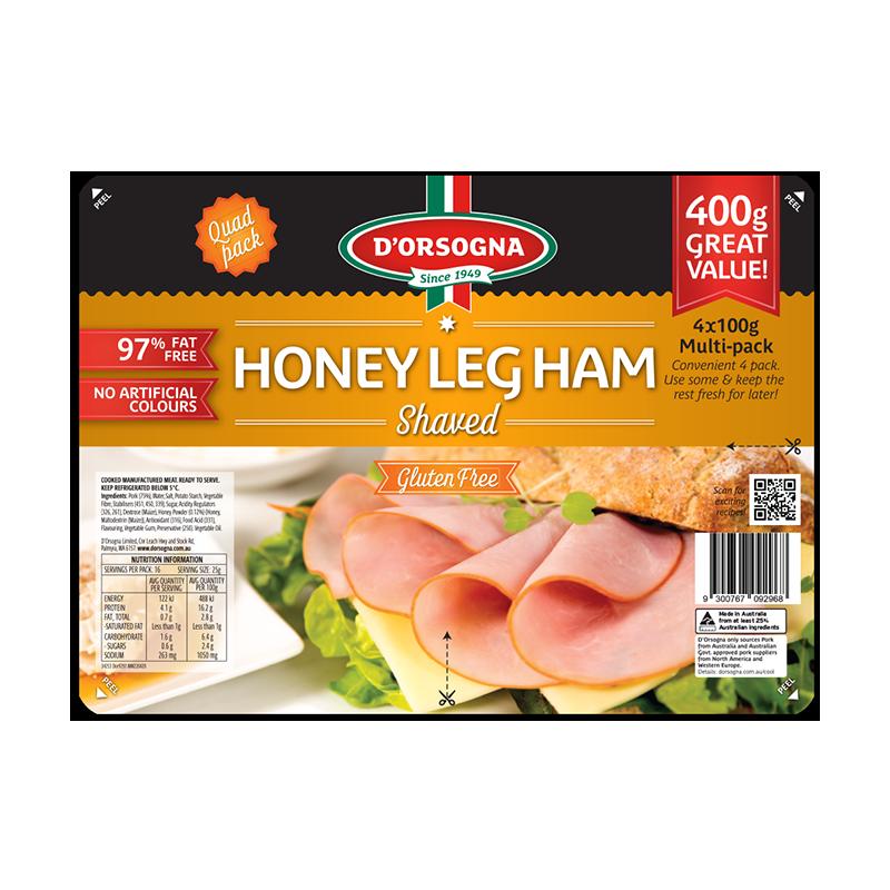Honey Leg Ham shaved Quad pack 400g