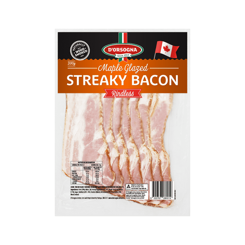 Maple Glazed Streaky Bacon 200g