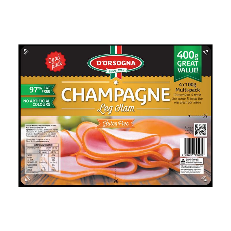 Champagne Leg Ham Quad pack 400g