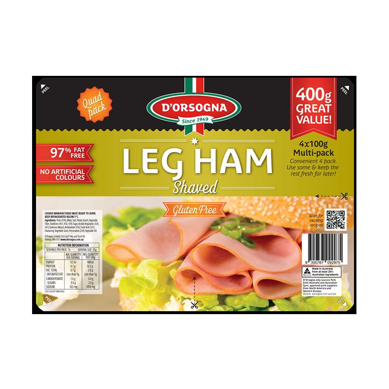 Leg Ham shaved Quad pack 400g