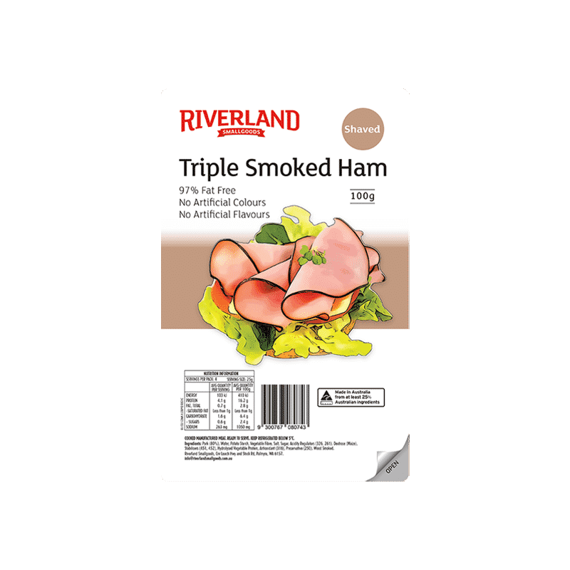 Riverland Triple Smoked Ham shaved 100g