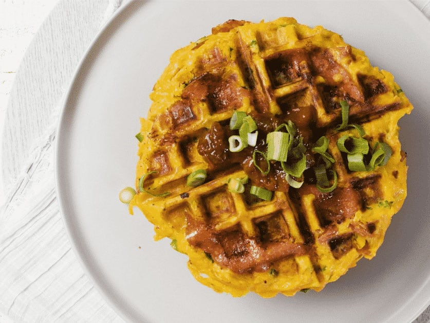 Salami & sweet potato waffles