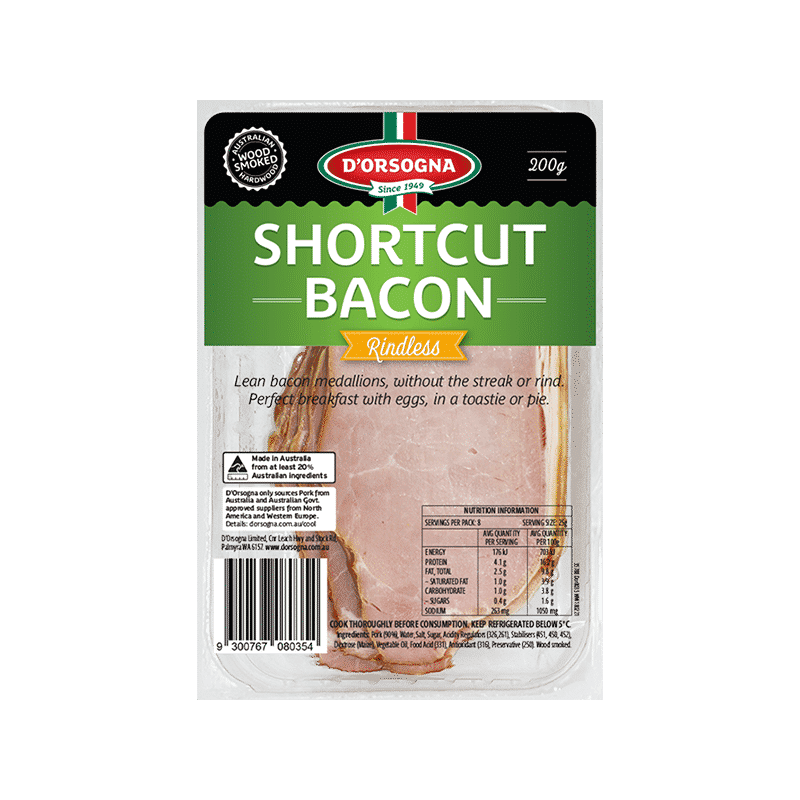 Shortcut Bacon Rindless 200g