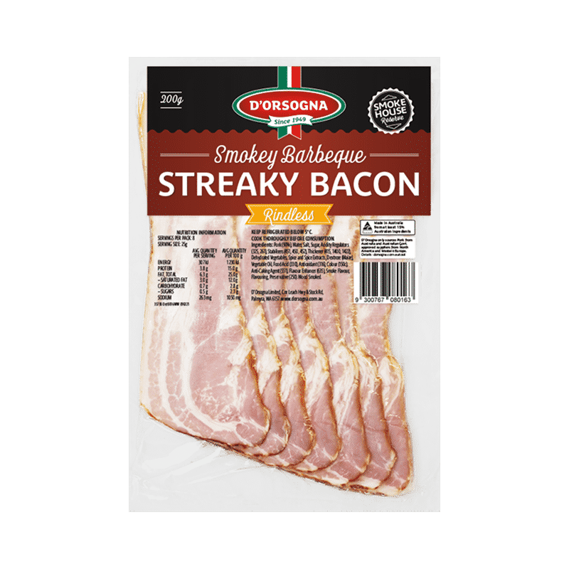 Smokey BBQ Streaky Bacon Rindless 200g