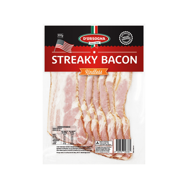 Streaky Bacon Rindless 200g