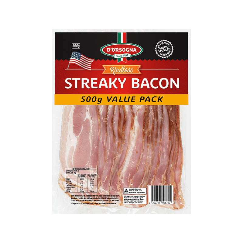 Streaky Bacon Rindless 500g