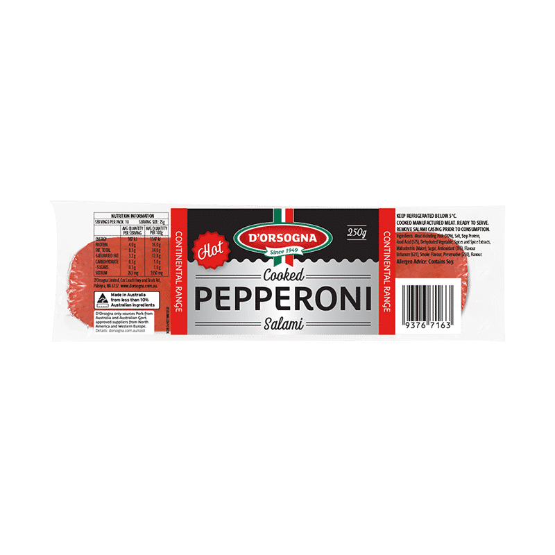 Cooked Pepperoni Salami Hot 250g